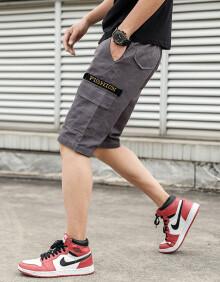 鳄鱼恤 CROCODILE 短裤男2019夏季新款新款时尚百搭工装裤男短裤潮流五分休闲裤男 G28 灰色 4XL
