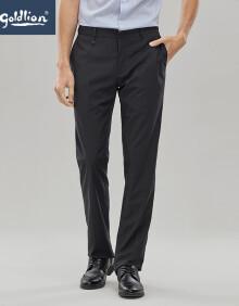 金利来男士穿着舒适精致格纹时尚商务修身版西裤长裤黑蓝色30