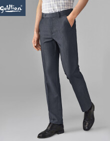 金利来男士花纱面料穿着舒适修身合体简约商务西裤长裤深灰38