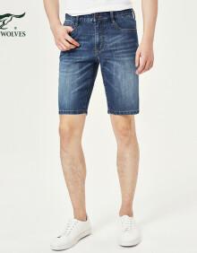 七匹狼牛仔裤新款短款五分裤 青年男士夏季休闲中高腰宽松直筒短裤  102(深蓝) 38A