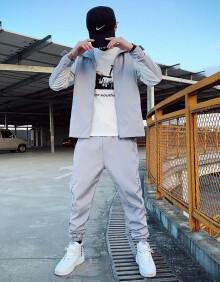 古莱登 卫衣套装男春夏季新款潮流套装休闲运动服一套青少年立领夹克外套男嘻哈卫衣外套两件套男装潮 T12灰色 M
