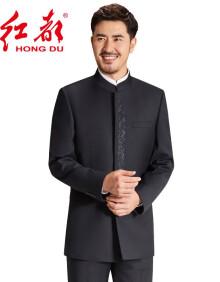红都立领修身羊毛男士中山装套装中国风绣花商务中山装中式礼服 黑色AJ2139-1 170/92