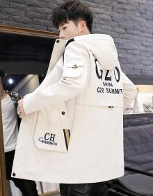 古莱登风衣男中长款外套男青年大衣新款帅气印花字母连帽夹克男修身外套 米白色薄款 2XL(140斤-155斤)