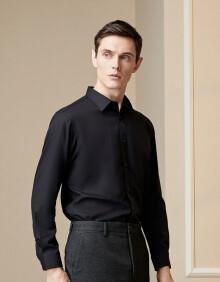 雅戈尔 衬衫男士 2020春季青年男休闲正装衬衫 GLDP16384AJA 黑色 37