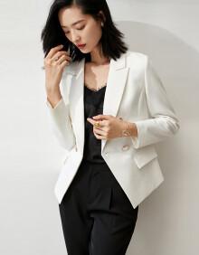 尚都比拉春季OL风百搭简约双排扣西装外套 柳絮白 XL