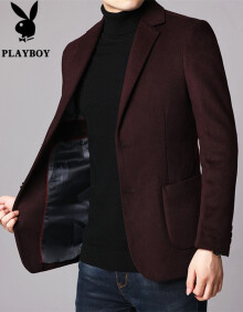 花花公子 2019秋冬新款西装男外套正装羊毛呢单西韩版修身潮流休闲西服男装 红色 XL