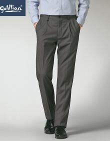 金利来2020春夏款男士穿着舒适暗斜纹时尚单褶商务西裤长裤 中灰 30