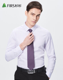 杉杉(FIRS)休闲时尚格子长袖衬衫男 TCB1254-3紫色 42