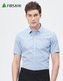 杉杉(FIRS)短袖衬衫男 休闲商务格子男士短袖衬衣 TCB1264-1D蓝色 39