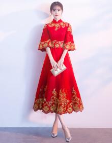 沐阳 2020新款敬酒服新娘红色中式旗袍中国风结婚礼服女回门服显瘦 红色中长款 量身订做(不退换)