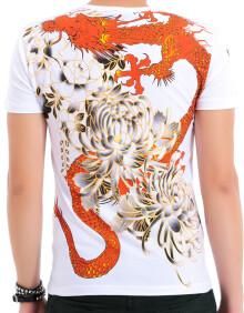 柯普赫 2015夏装新款潮韩版男士短袖中国风男装烫金龙纹身t恤衣服