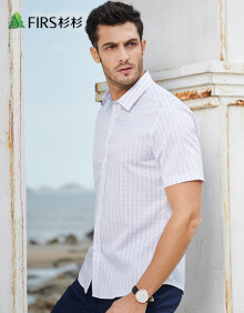 杉杉(FIRS)短袖衬衫男 休闲商务格子短袖衬衫男 TCB1263-2D灰色 40