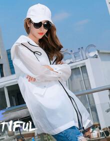 朗悦女装 夏季薄款外套女中长款学生宽松轻薄衫连帽外套 LWFY184121 白色 均码