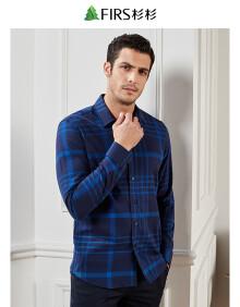 杉杉(FIRS)长袖衬衫男 时尚休闲格子衬衣 CVCB1366-6蓝色 43