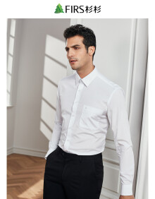 杉杉(FIRS)长袖衬衫男 商务休闲纯色提花衬衣男 TSB1358-1白色 41