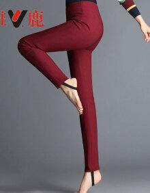 雅鹿 YS6101480 高腰显瘦羽绒裤女外穿修身羽绒女裤加厚大码保暖裤子 酒红色 XL