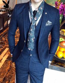 花花公子 西服套装男2019新款商务休闲修身西服套装男英伦绅士西装三件套结婚礼服伴郎服 TZ88蓝色 XL