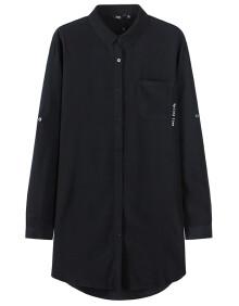 森马(semir) 女士方领字母印花韩版中长款休闲衬衣 13116050216 黑色图片