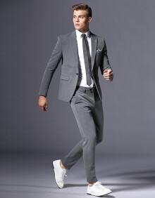 BOY GXG西服套装男三件套修身西装商务休闲正装新郎结婚套装男礼服【西服+马甲+裤子】 气质灰色 52