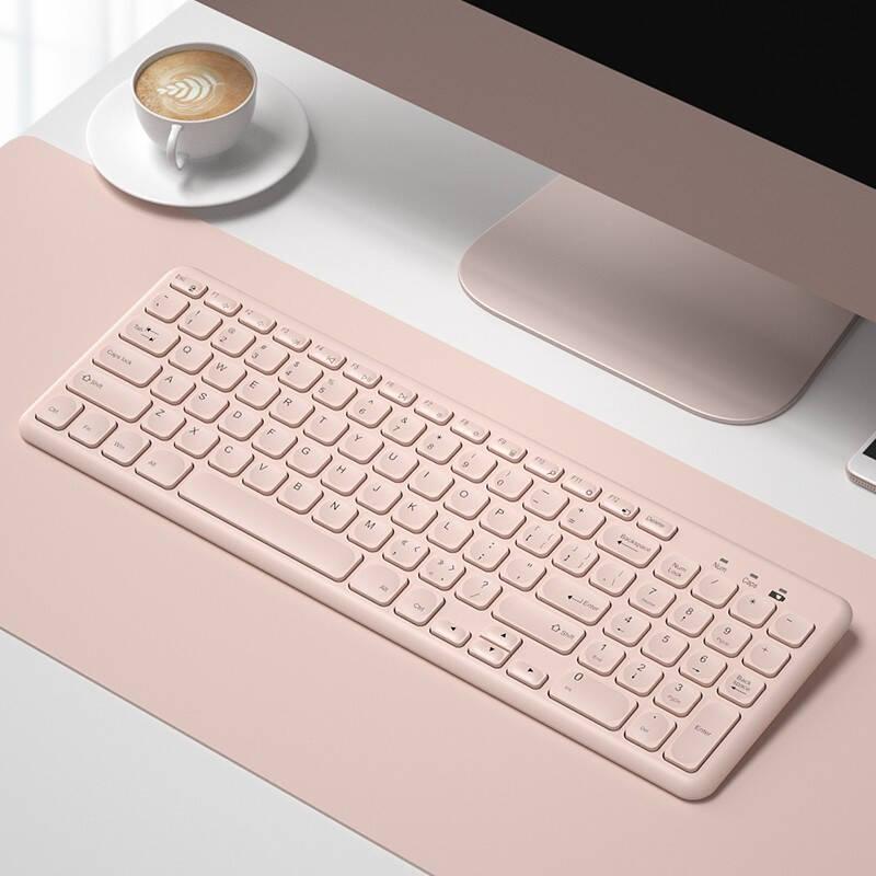 B.O.W 航世 HW256 无线键盘鼠标套装(超薄无线键鼠套装 笔记本办公通用外接数字键盘) 2.4G无线单键盘-【少女粉】