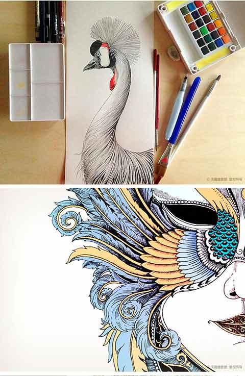 手绘面具画天鹅
