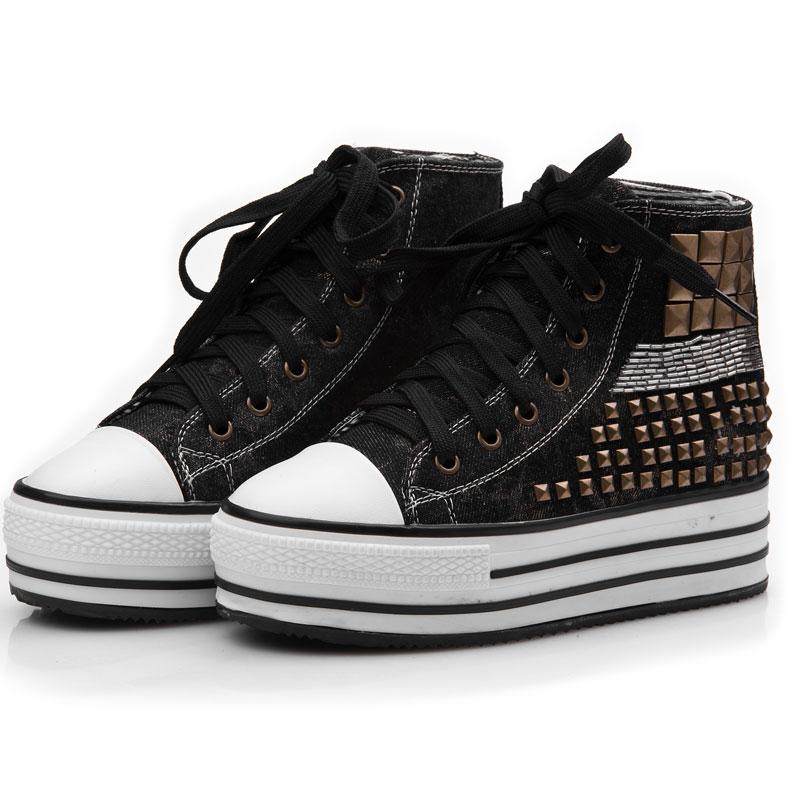麦步mallboll 明星同款时尚牛仔铆钉增高厚底帆布鞋休闲女鞋 黑色 37图片