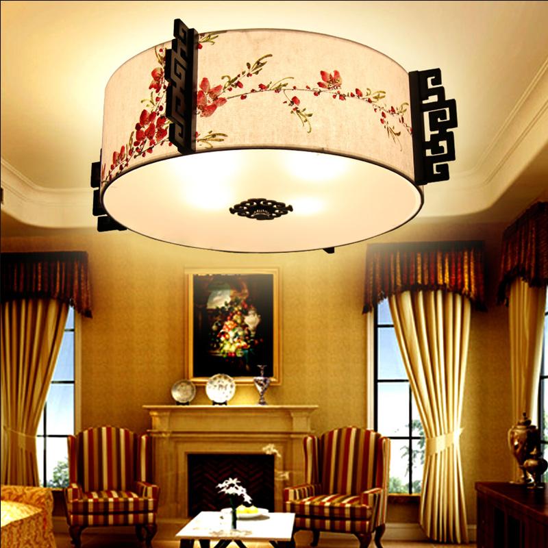 比月 照明灯具 实木灯饰 手绘国画灯 现代中式羊皮吸顶灯3019图片