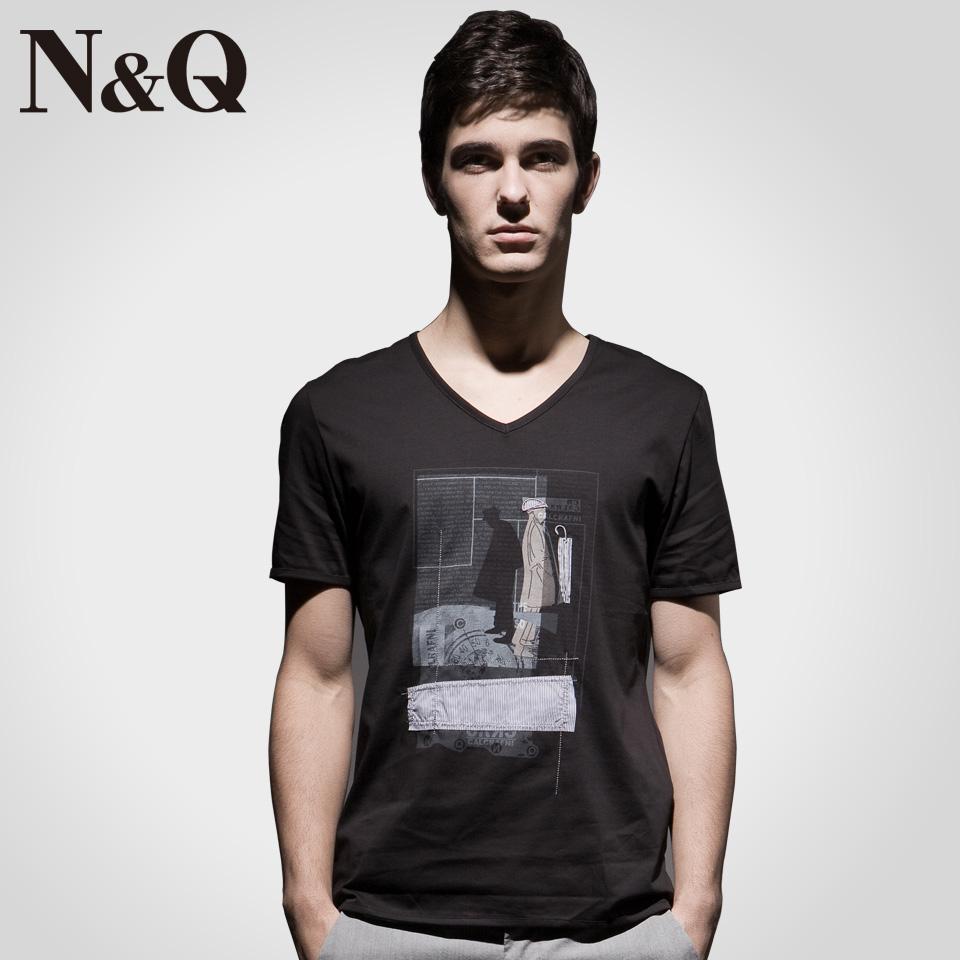 诺奇男装 夏季新款 男士贴布印花短袖t恤 男韩版修身v领t恤d1163 白色