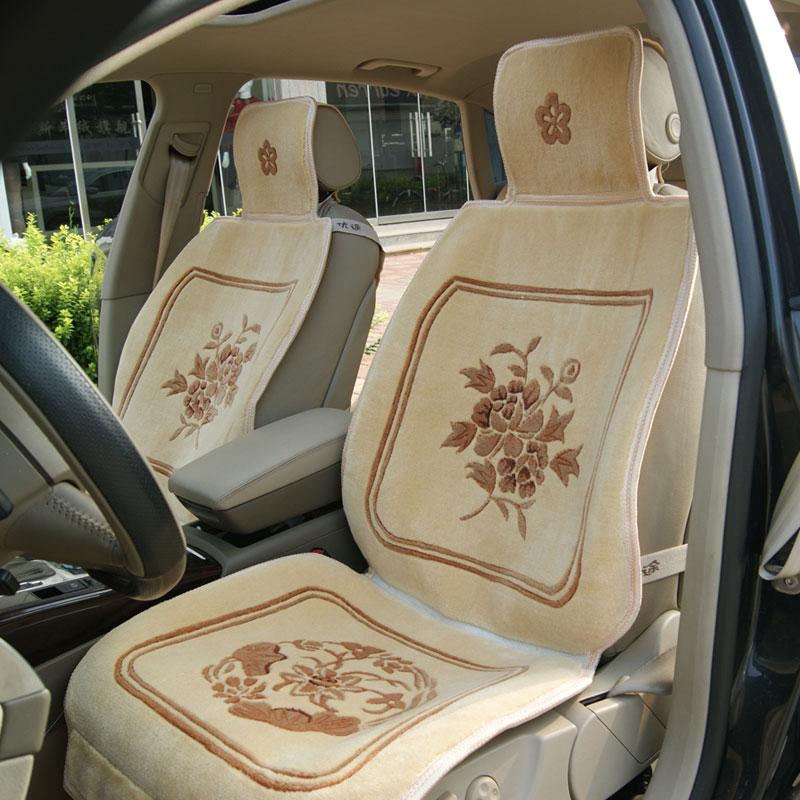 优途 汽车坐垫汽车毛垫地毯编织羊毛地毯垫冬季座垫 兰花草坐垫