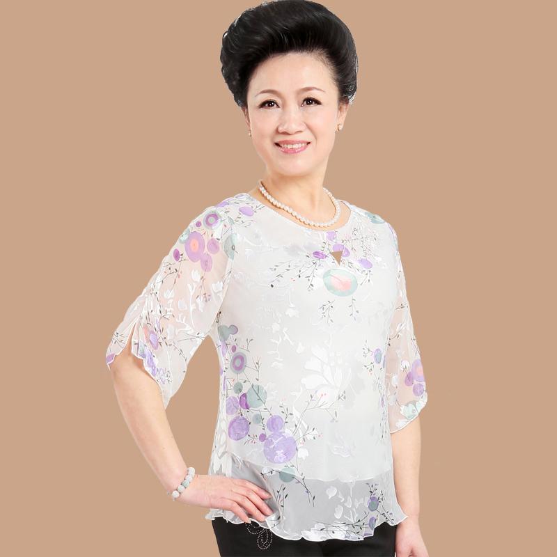 法缇 中老年女装夏装短袖妈妈装新款桑蚕丝t恤中老年服装 5104c xxxxl