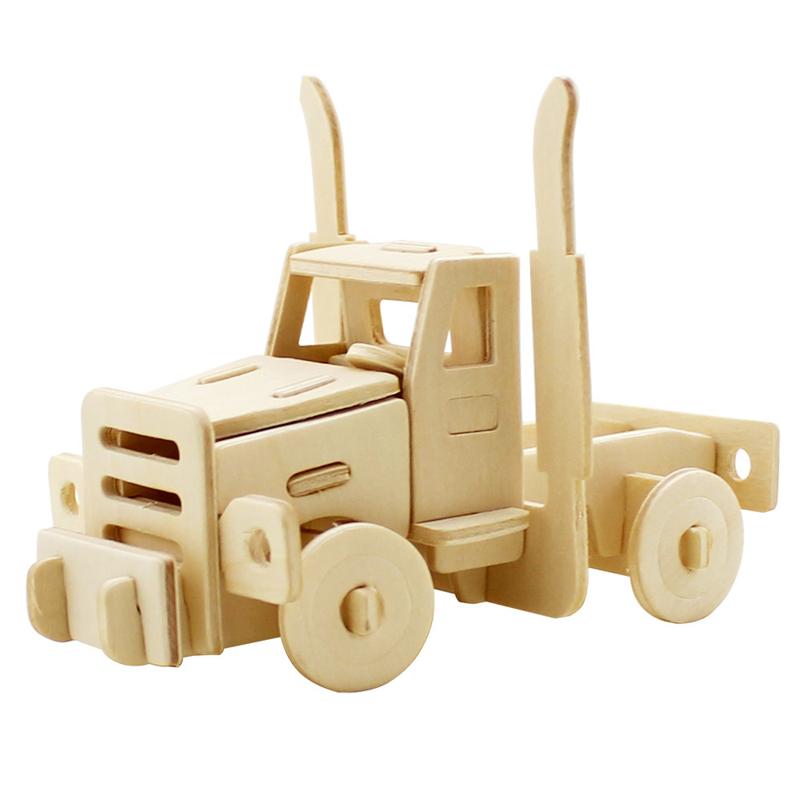 若态科技 绿之爱3d立体拼图 儿童益智玩具 动物小车飞机模型木质模型