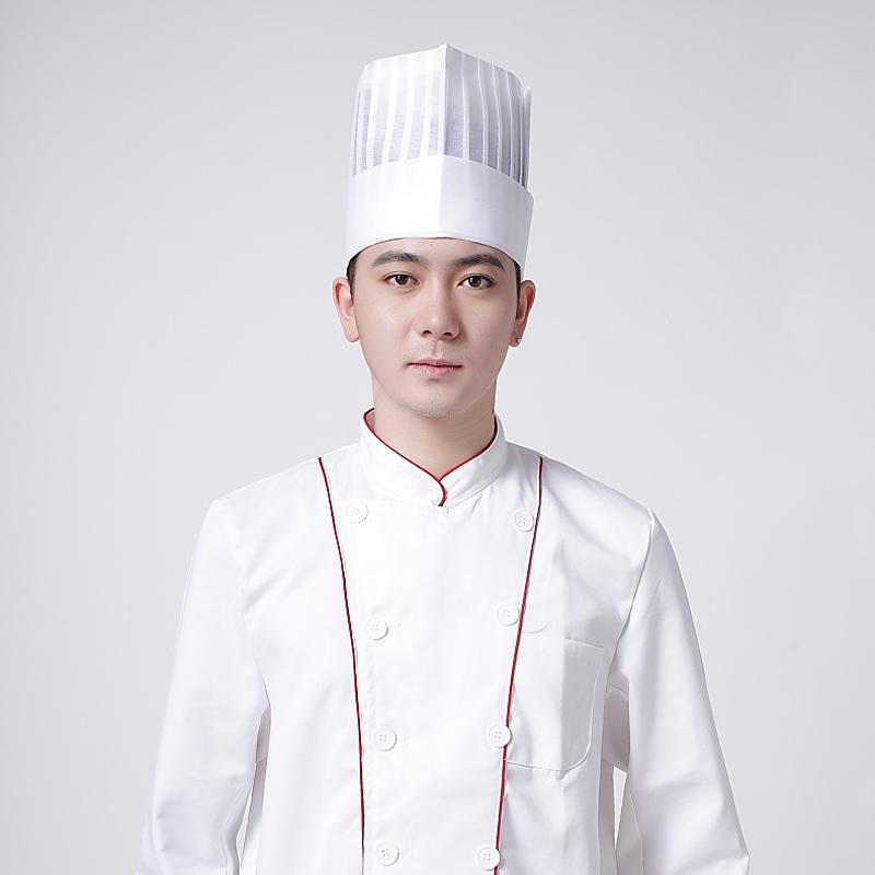一次性高帽帽帽子中帽大厨帽子厨师餐具无纺布厨师长帽子10顶/包环保便捷厨师图片