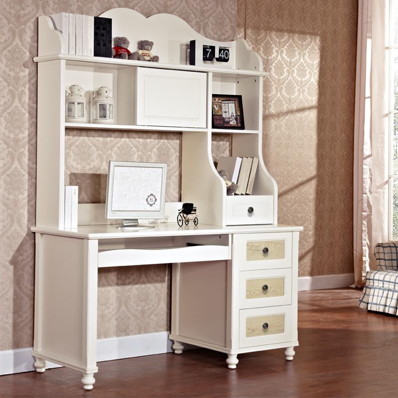 七彩人生 美式田园书桌书架 台式电脑桌 书桌书架组合图片