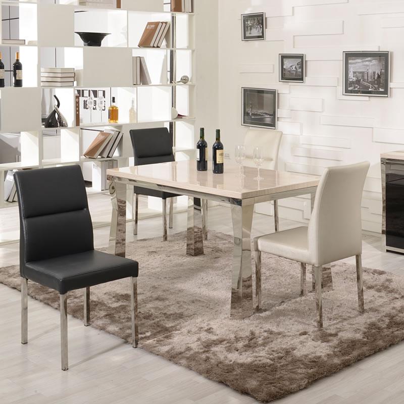 大理石餐桌椅组合特价白色欧式现代简约