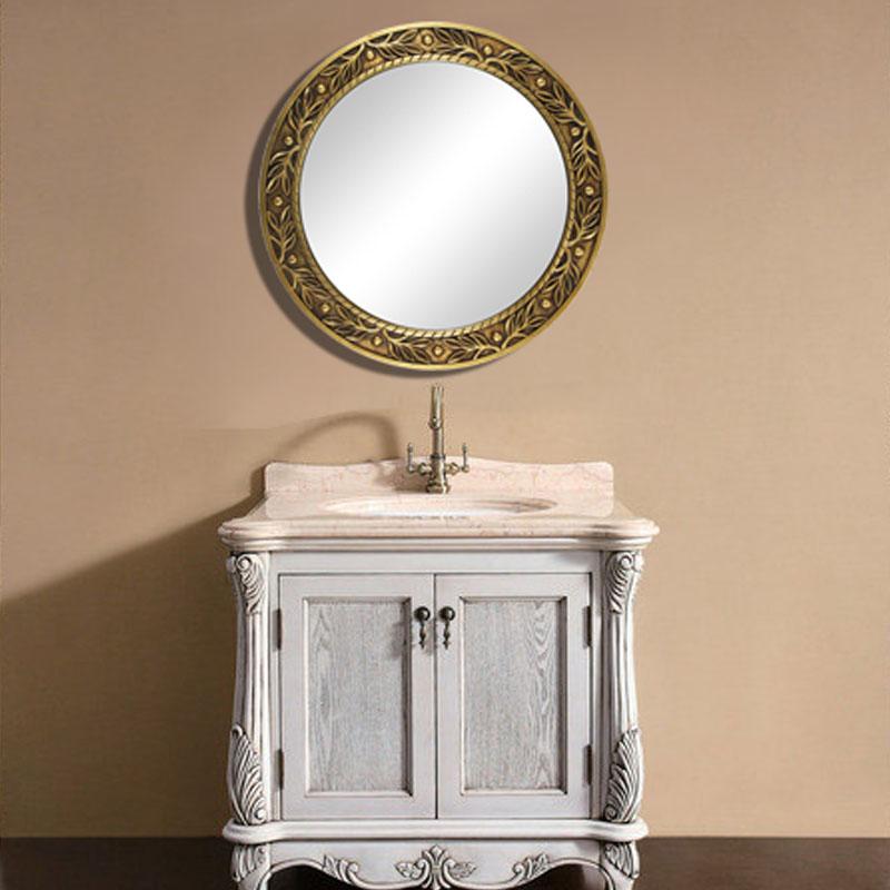 欧式复古浴室镜子 奢华玄关镜正圆形镜 欧式装饰镜子 c-20 香槟色框76