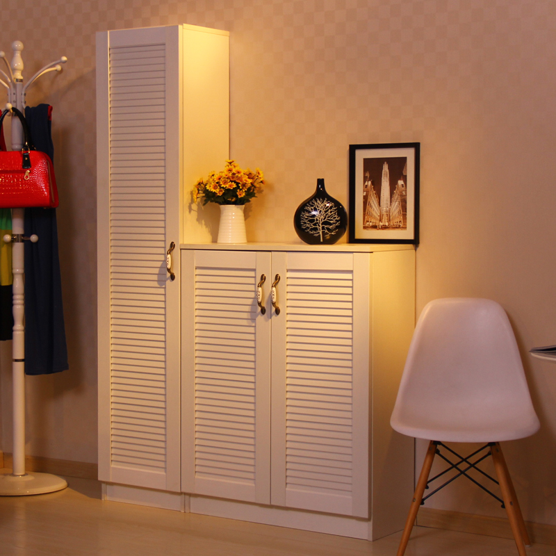 【美宅】简约现代板式门厅家具鞋柜门厅柜小百叶门单开门两开门鞋柜图片