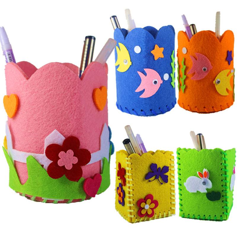 早教幼儿园创意粘贴 儿童立体手工制作diy 宝宝玩具 布艺笔筒 1个