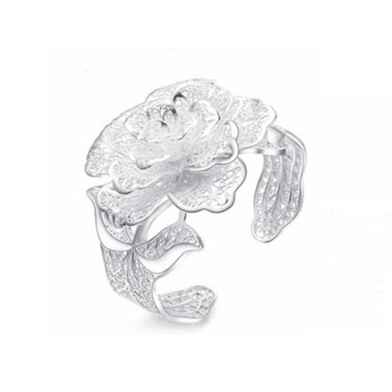 饰水琉年s990纯银牡丹花银手镯子女款镂空千足银花瓣开口加宽银手链送
