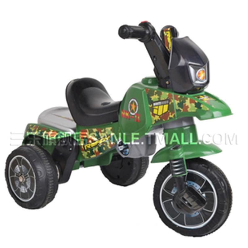 三乐三轮儿童电动摩托车小孩玩具车宝宝电动车小孩婴幼儿车 军绿色