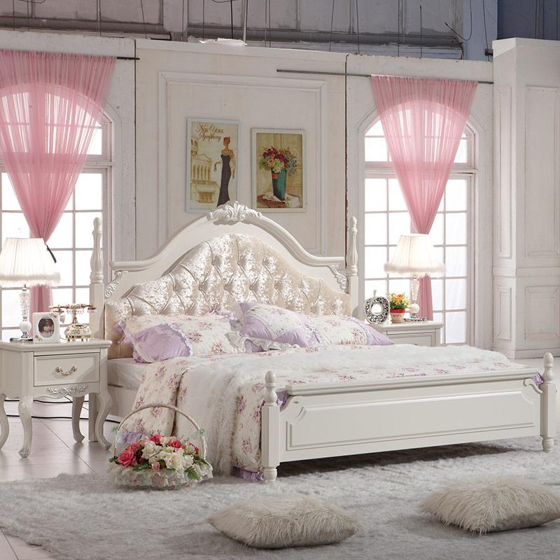 奥佩诗 韩式田园床 白色实木床 公主床 婚床双人床1.