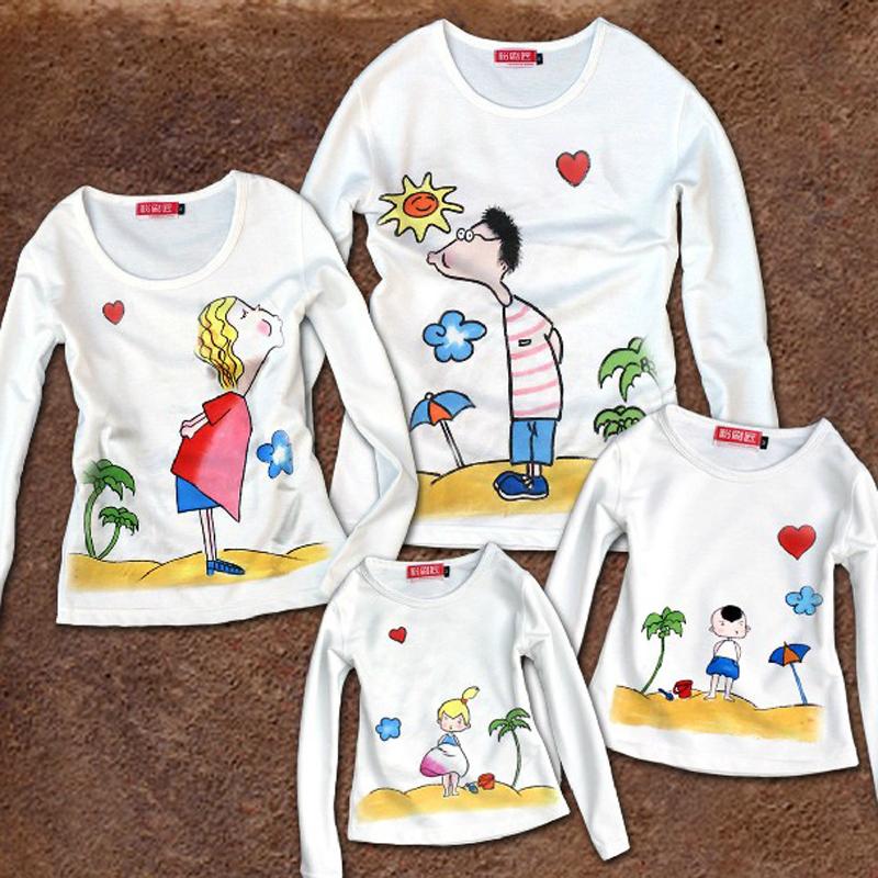 粉刷匠个性手绘 亲子装 家庭装 亲子衫 长袖t恤 出游