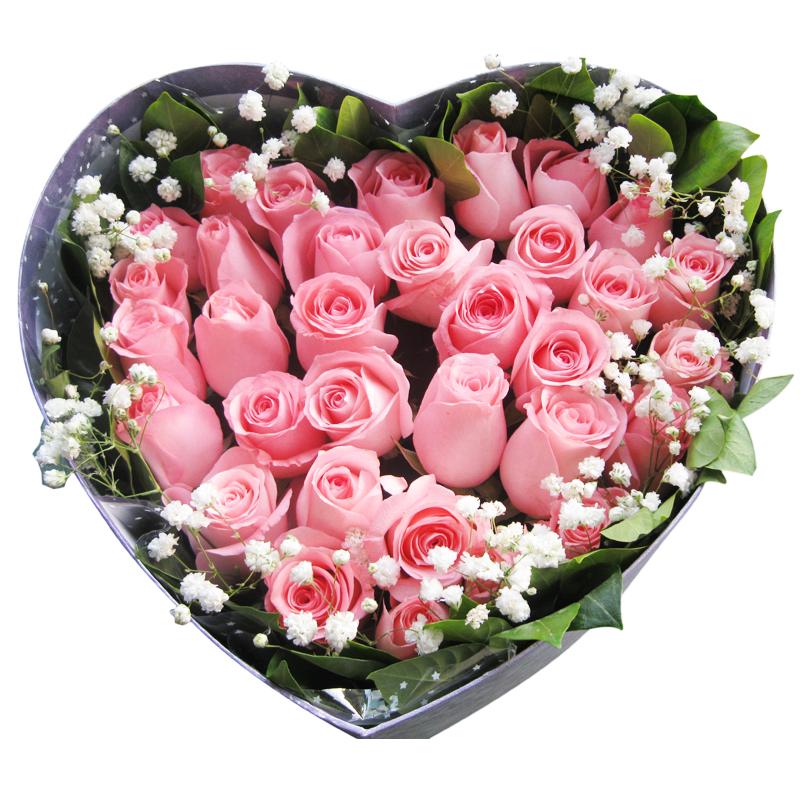 33朵粉玫瑰礼盒 送朋友送老婆送女友送闺蜜生日礼物七夕 郑州开封洛阳图片