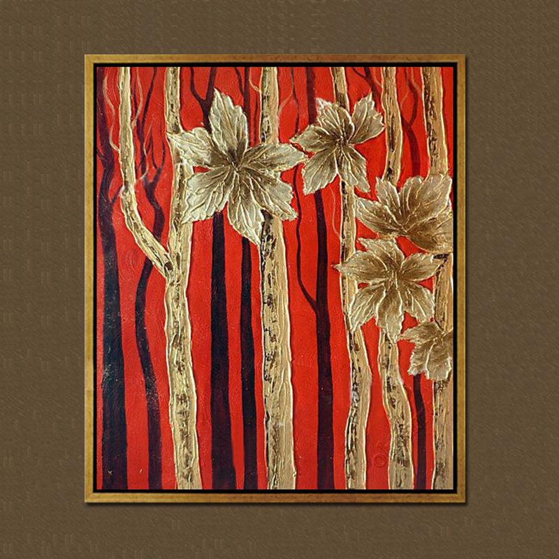 雅创 纯手绘油画东南亚泰式金箔画有框画抽象画 黄金叶 红色调 75*85c