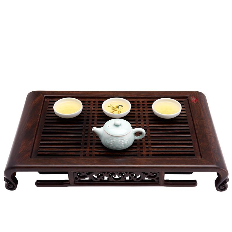 汉唐茶具套装茶盘套装功夫茶具实木 储水式黑檀木茶海