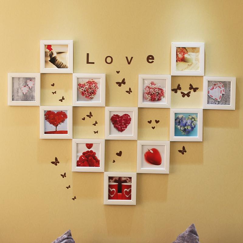 森淼照片墙 创意相片装饰画框相框墙心形组合 墙饰实木像框架 全白色