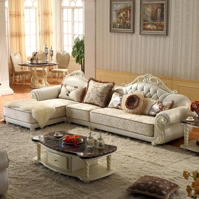 布佳伲家具 欧式转角沙发 简约真皮沙发 白色 -半接触