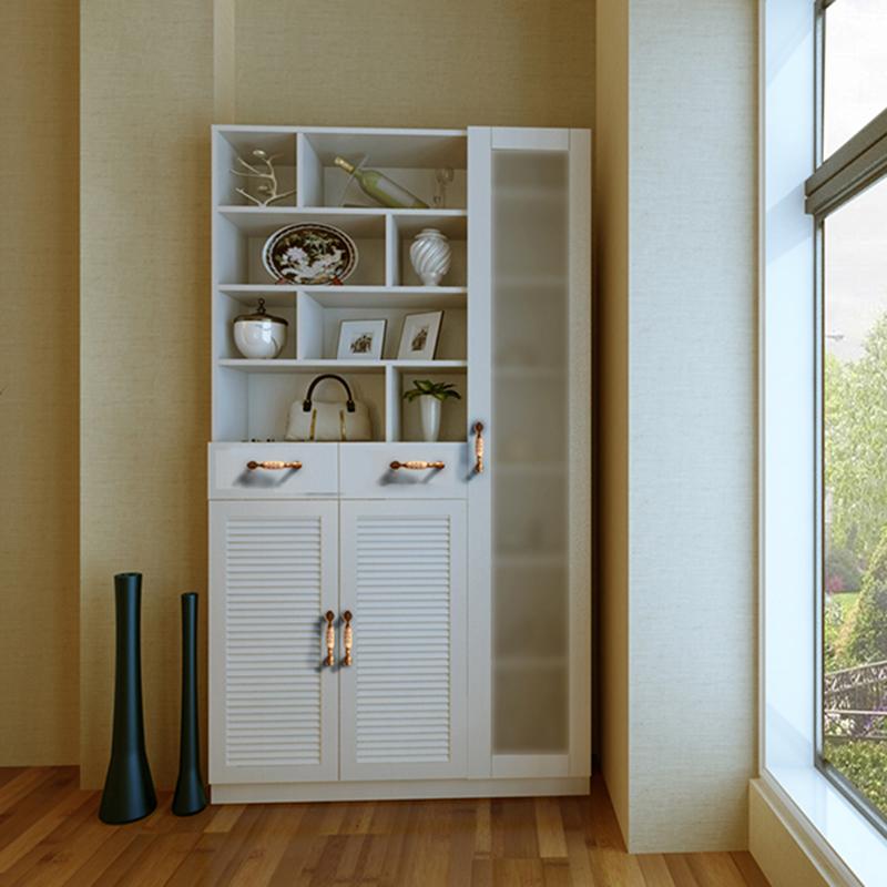 美宅 简约现代时尚环保板式门厅家具鞋柜小百叶门造型鞋柜带磨砂玻璃图片