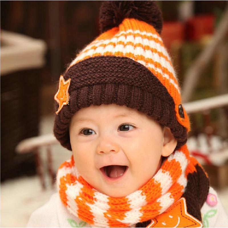 小倪邦童帽婴儿帽子 宝宝针织帽 儿童帽子 围巾两件套
