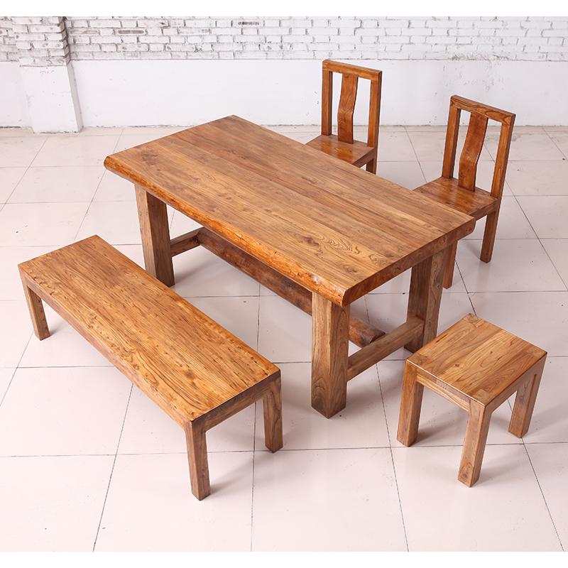 全顺实木家具 明清古典系列 浅榆木风化纹餐枱ct004