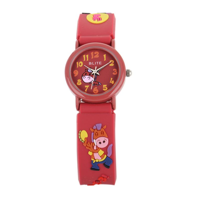 blite花样年华立体卡通动物系列 十二生肖儿童数字刻度手表 马-8017